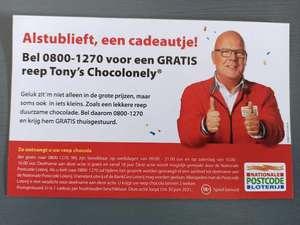Gratis reep Tony's als je belt met de Postcode Loterij