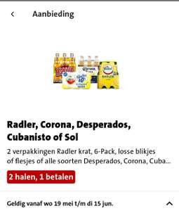 Jumbo: Alle soorten Radler, Desperados, Corona, Sol, Cubaniato - 2 halen 1 betalen