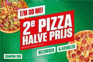 New York pizza 2de pizza halve prijs voor degenen waarbij code voor 2de gratis niet werkt. Het is niet veel maar wel wat. Actie is tm 30 mei