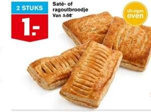 Hoogvliet supermarkten 2 saté of 2 ragout broodjes voor 1 euro