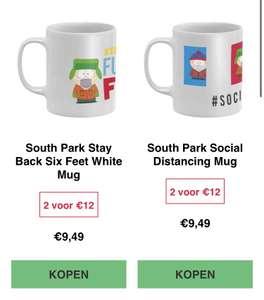 2 mokken 12 euro, bijv nieuwe South Park social distancing