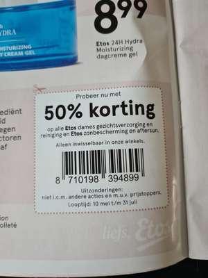 50% korting op alle Etos dames gezichtsverzorging