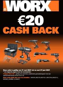 Worx gereedschap 20% korting én €20 Cashback