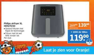 Philips Airfryer XL HD9260/70 met 1000 Airmiles 119,00