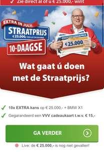 €15 VVV bon bij postcode loterij (lot 14,25 per trekking)