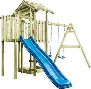 [Prijsfout] 4 verschillende vida xl houten speelhuizen met ladder, schommels en glijbaan