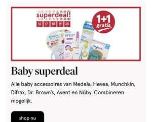 1+1 gratis bij Etos op Dr Brown's, Munchkin, Meleda, Difrax, Avent en Nuby baby accesoires
