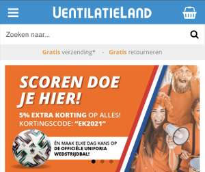 5% op alles bij ventilatieland.nl