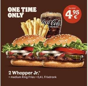 2 Whopper Junior Burgers + Fries Medium + 0,4L Soda voor €4,95