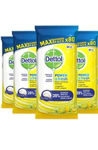 [Prime Day] Dettol Power en Fresh MultiReinigingsdoekjes Citrus 4 x 80 Doekjes Grootverpakking