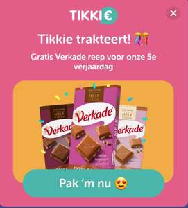 Tikkie 5 jaar: gratis reep Verkade chocola bij AH, Jumbo of Shell in Tikkie-app