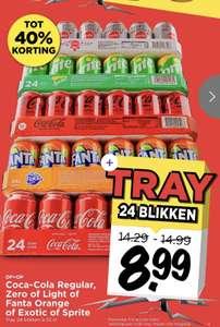 Tray - 24 stuks Coca Cola Regular, Zero, Light of Fanta Orange, Exotic of Sprite