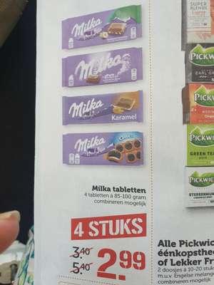 4 milka tabletten 100gr €2,99