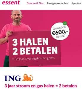 Essent: 3 jaar stroom/gas halen, 2 jaar betalen (via ING winkel). Ca. 600 eur voordeel over 3 jaren.