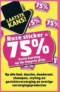 [trekpleister] roze sticker producten 75% korting