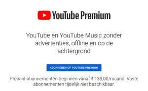 Youtube Premium Prepaid India [enkel individueel: €4,52/3mnd]