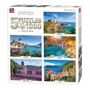 King 5-in-1 landschap puzzels 5x1000 stukjes @ Blokker