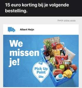 15 euro korting bij je volgende bestelling @AH.NL bij Pick Up Point