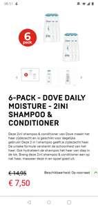 6-Pack DOVE Shampoo/conditioner voor €1.25 per fles!