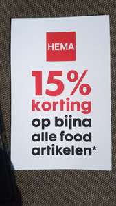 15% Korting op bijna alle food artikelen* @HEMA