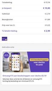 15.10 euro boodschappen voor 10 cent
