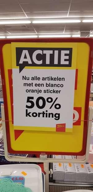 50% korting op alle artikelen met oranje sticker @ Wibra