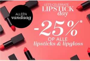 25% korting op alle lipsticks & lipgloss @ Douglas