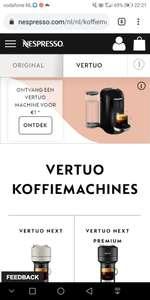 Nespresso VERTUO voor €1,00 bij aankoop vanaf 250 capsules