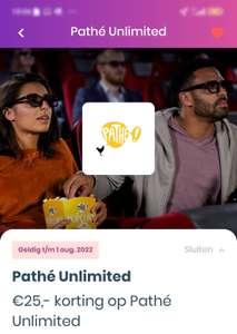 €25,- Korting op Pathe Unlimited (14,75 per maand) Via Knaek (Voor Studenten)