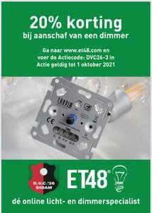 20% korting op (LED) dimmers bij ET48.com de dimmerspecialist