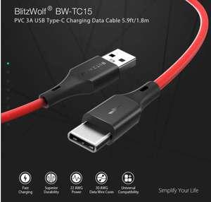 [5 Pack] BlitzWolf® BW-TC15 3A QC3.0 Quick Charge USB Type-C 1,8m Fast Data Sync