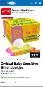 Zwitsal baby sensitive billendoekjes 3 dozen halen 1 betalen