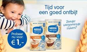 Probeer nu NESTLÉ Baby Cereals 400 gram blik voor maar € 1,-