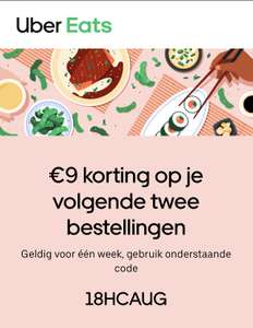 2x €9 korting @Uber Eats (minimale besteding €20,-)
