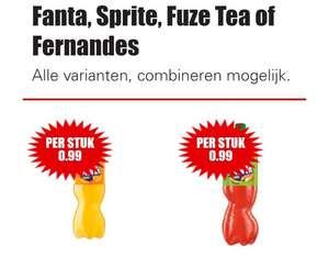 A merken frisdrank Fanta Sprite Fuze Tea of Fernandes €0,99 per stuk Dirk