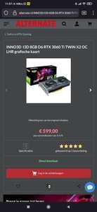 Inno3D GeForce RTX 3060 TI TWIN X2 OC LHR grafische kaart