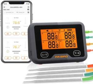 Inkbird Wi-Fi & Bluetooth Vleesthermometer IBBQ-4BW, Oplaadbare Draadloze BBQ thermometer met 4 probes