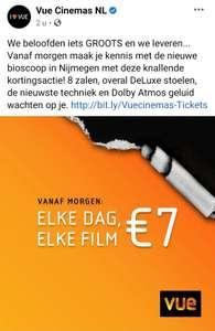 Vue Nijmegen opening €7 elke film elke dag