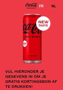 In Belgie en Luxemburg gratis 1 blikje coca cola zero