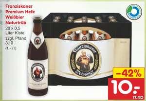 [GRENSDEAL]: 20 halve liters Franziskaner weissbier / Warsteiner voor €10/€9,60 bij Netto