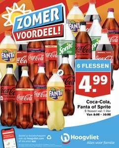6 flessen van 1 liter Coca-Cola, Fanta of Sprite