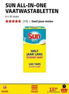 Sun all in one vaatwastabletten. 180 stuks € 15,99 (8,8 cent p.s) met gratis verzending @kruidvat