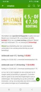 €7,50 of 5 euro korting bij Zooplus