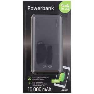 Grixx powerbank 10.000 mAh met USB-C en Micro-USB aansluiting