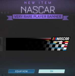 Gratis NASCAR player banner in rocket league (in game store)