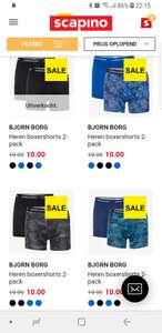 Bjorn borg boxers 2 voor 8,00 (niet alle maten)