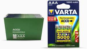 10x4 Varta AAA oplaadbare batterijen 1000mAh voor €20,37 bij Amazon.nl