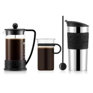 Bodum koffieset met cafetière, reisbeker, koffieglas en lepel voor €24,25 @ BODUM