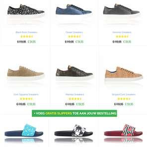 Schoenen -50% + gratis slippers t.w.v. €29,95 + €6,47 EXTRA korting [= va €48,48 totaal]