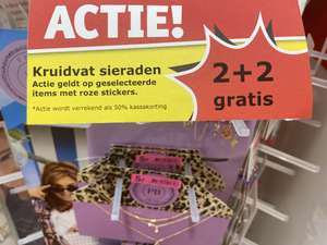 [kruidvat] kruidvat sieraden met roze sticker 2+2 gratis